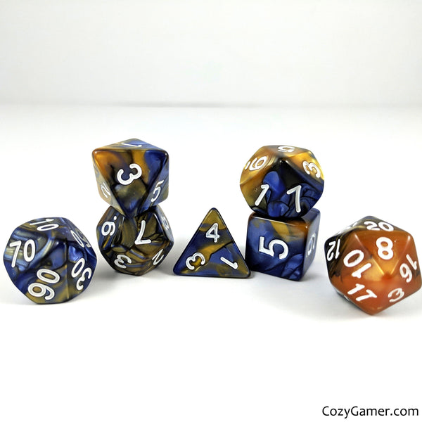 Comet Dice Set, Pearly Blue and Yellow Dice