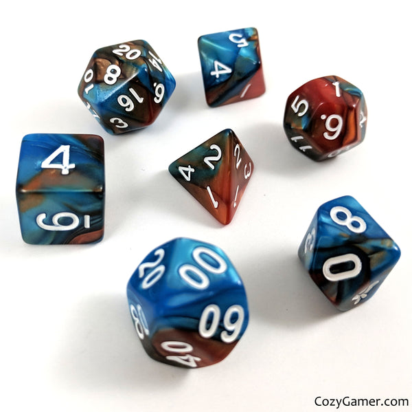 Aqua and Copper Dice Set, Pearly Blue and Copper Dice