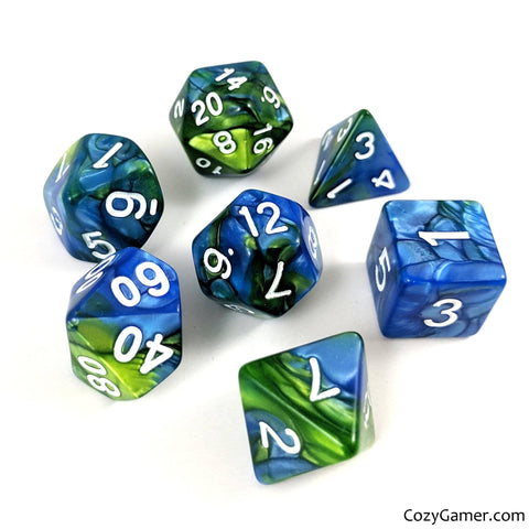 Blue Planet Dice Set, Pearly Blue and Green Dice