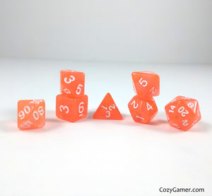 Orange Candy Dice Set, Orange Translucent Dice