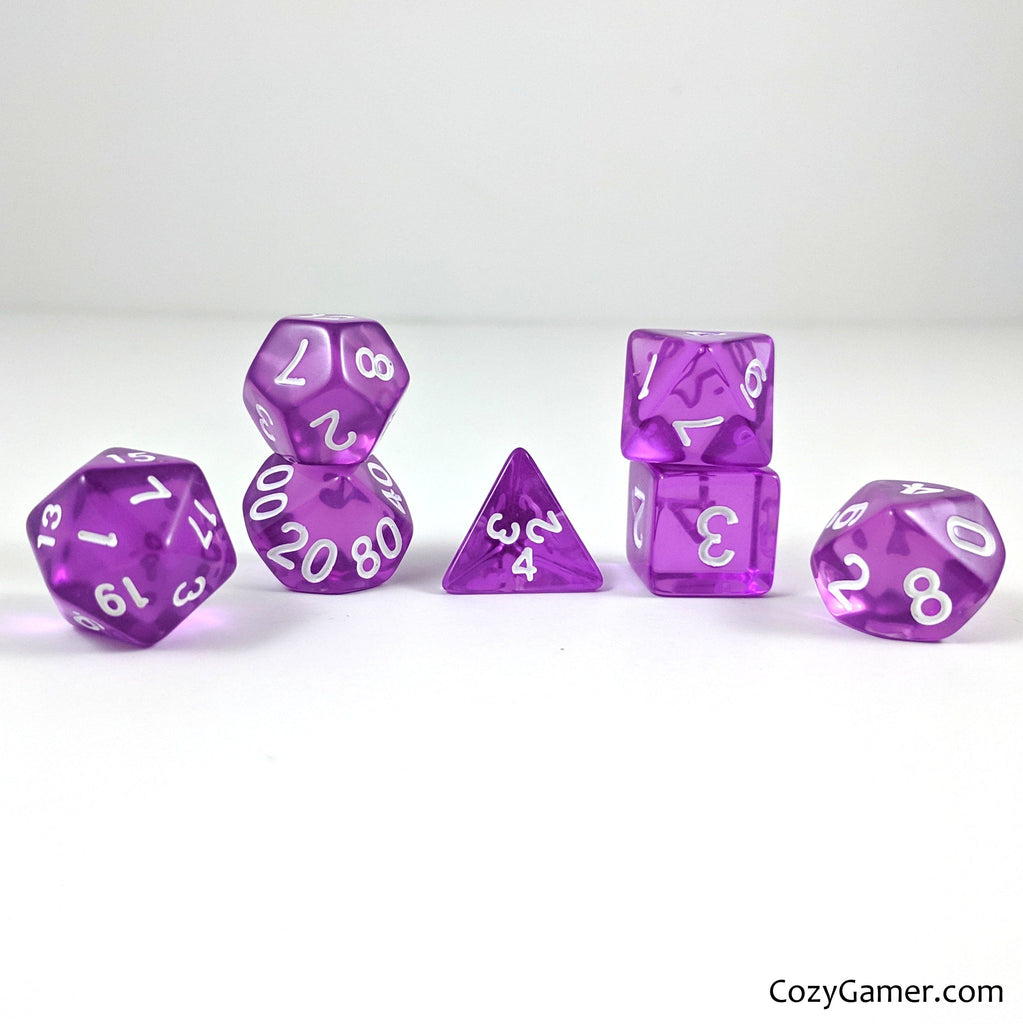 Grape Dice Set, Purple Translucent Dice - CozyGamer