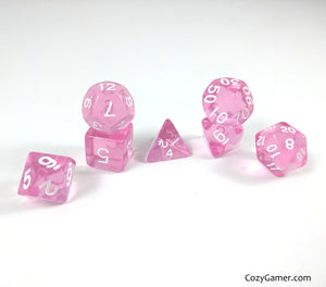 Pretty Pink Dice Set, Pink Translucent Dice