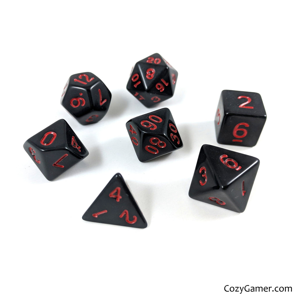 Solid Black Dice Set With Red Lettering - CozyGamer