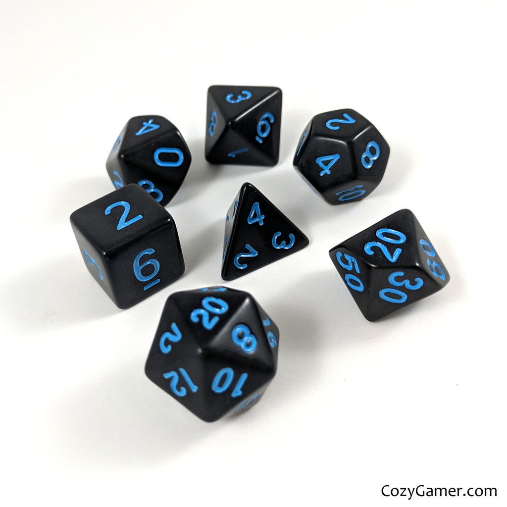 Solid Black Dice Set With Blue Lettering - CozyGamer
