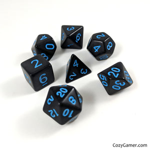 Solid Black Dice Set With Blue Lettering