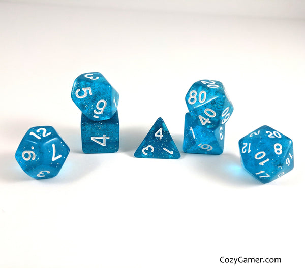 Ocean Blue Sparkles Dice Set, Blue Translucent Glitter Dice