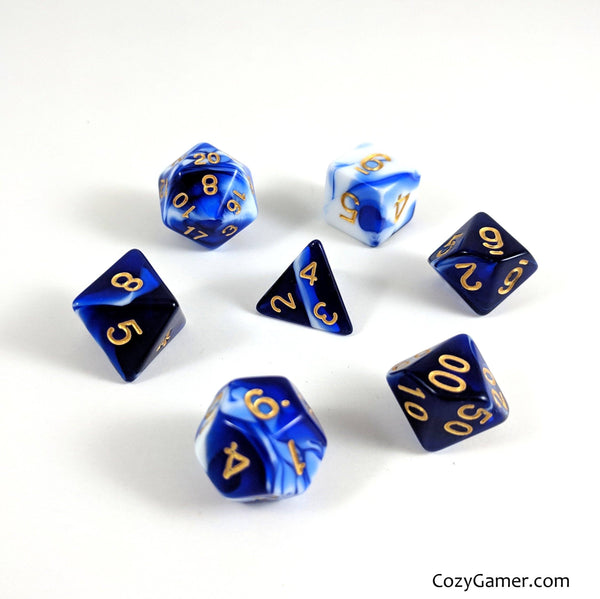 Force Field DnD Dice Set, Blue and White Marble Dice