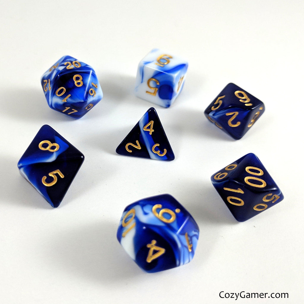 Force Field DnD Dice Set, Blue and White Marble Dice - CozyGamer
