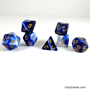 Cresting Wave DnD Dice Set, Blue and White Marble Dice