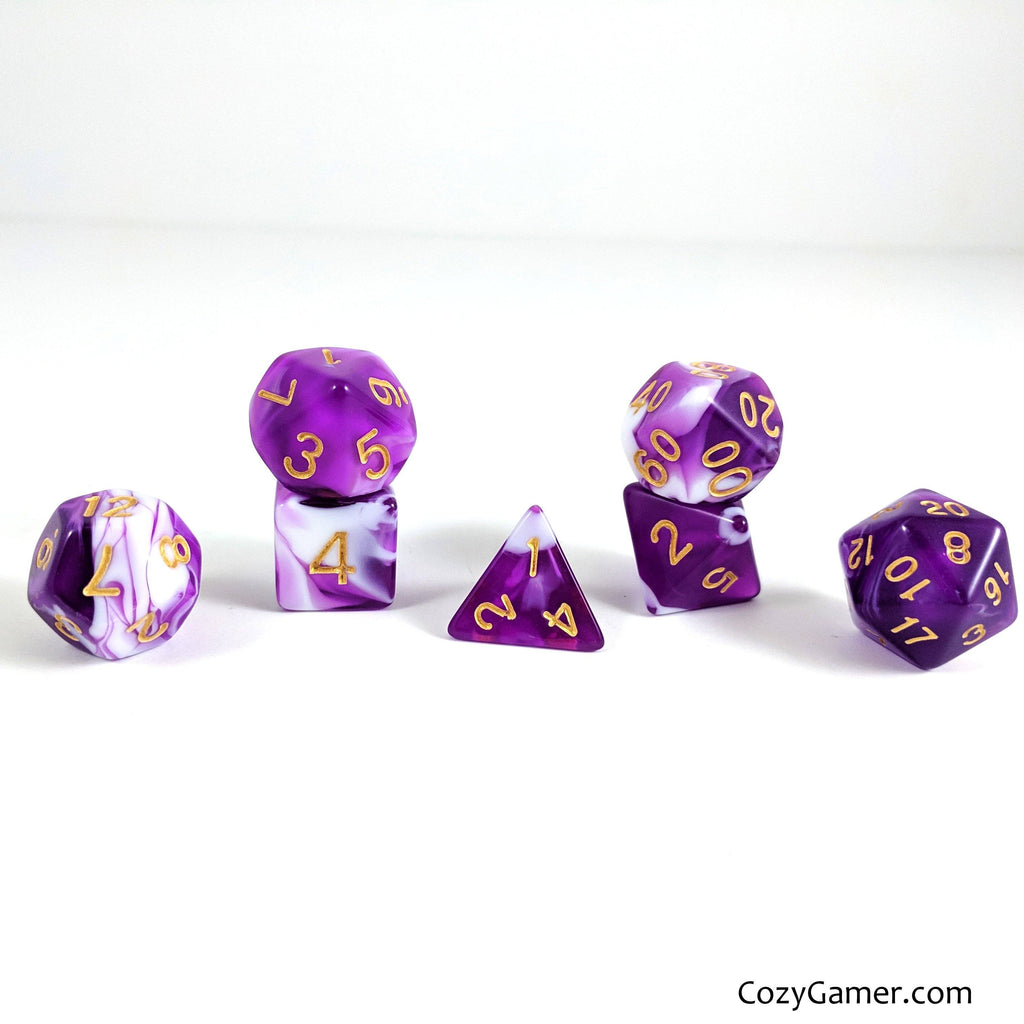Orchid DnD Dice Set, Purple and White Marble Dice - CozyGamer
