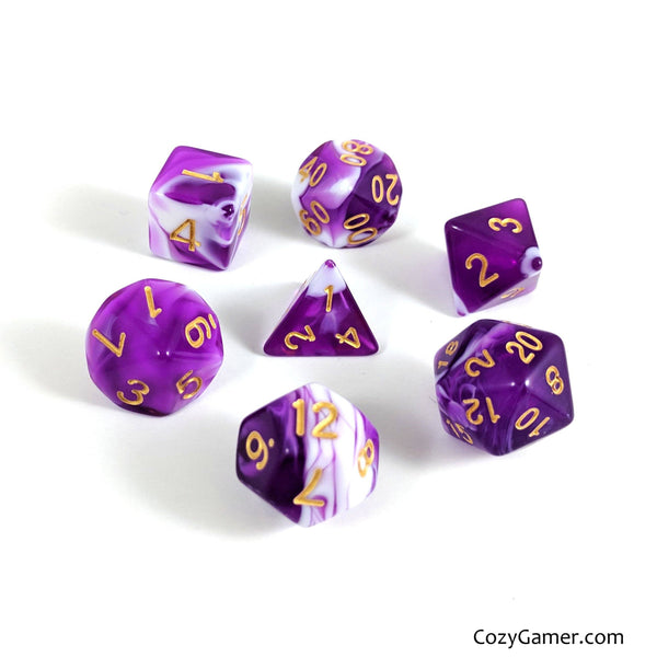 Orchid DnD Dice Set, Purple and White Marble Dice