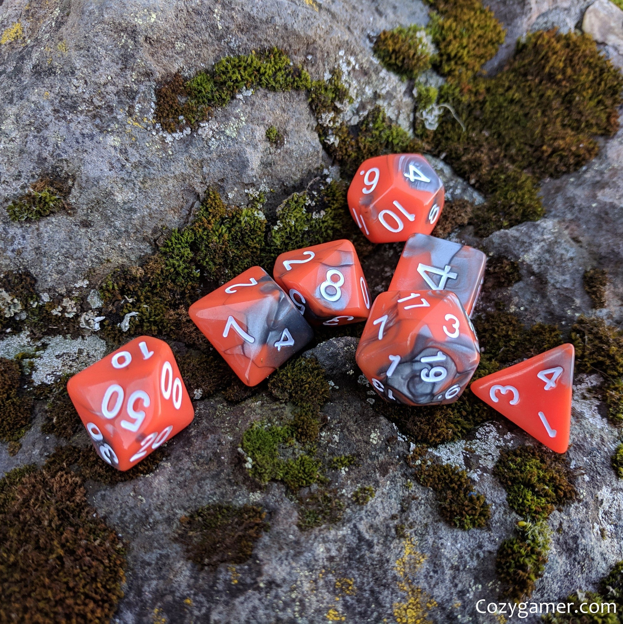 Volcanic Dice Set, Pearly Orange and Silver Dice