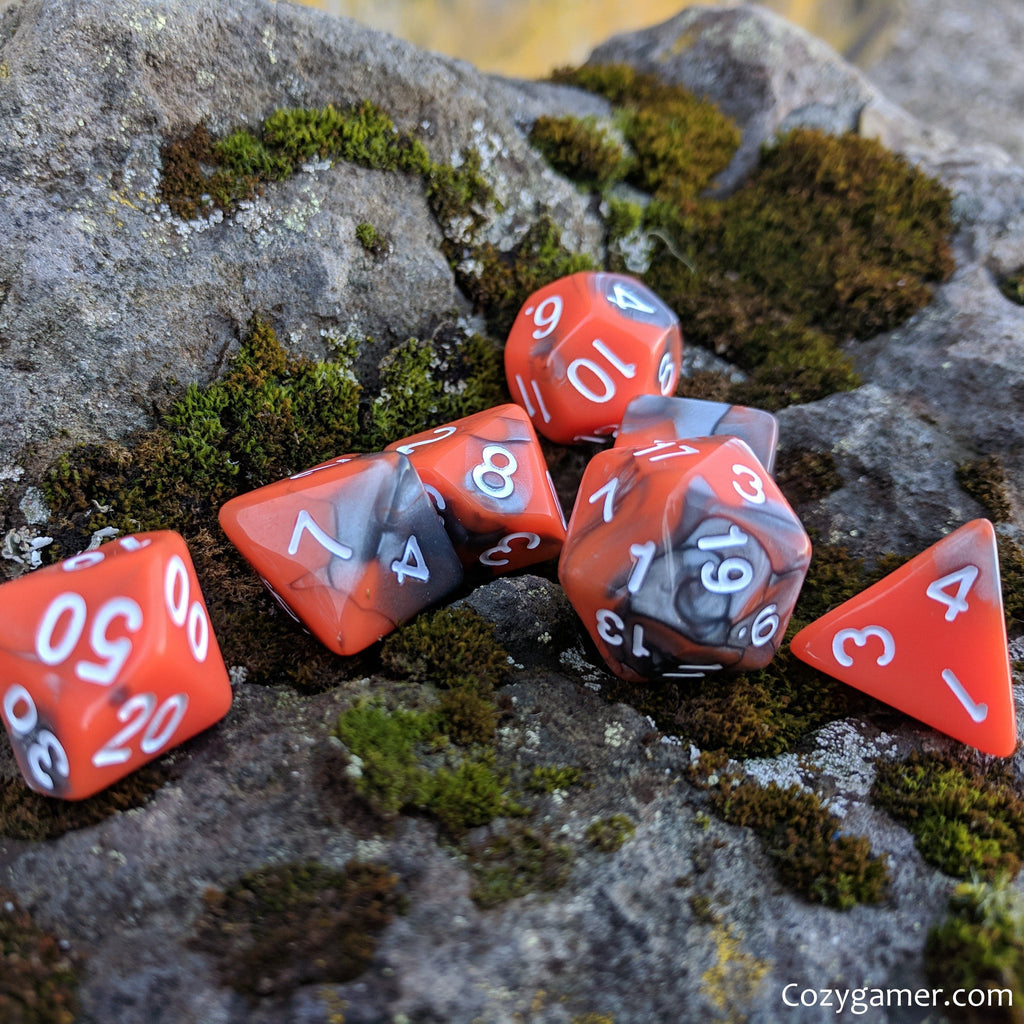 Volcanic Dice Set, Pearly Orange and Silver Dice - CozyGamer