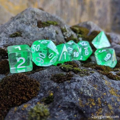 Nature Shift Dice Set, Translucent Green Ink 7 Piece D&D Dice Set
