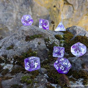 Violiscious Dice Set, Translucent Purple Ink 7 Piece D&D Dice Set