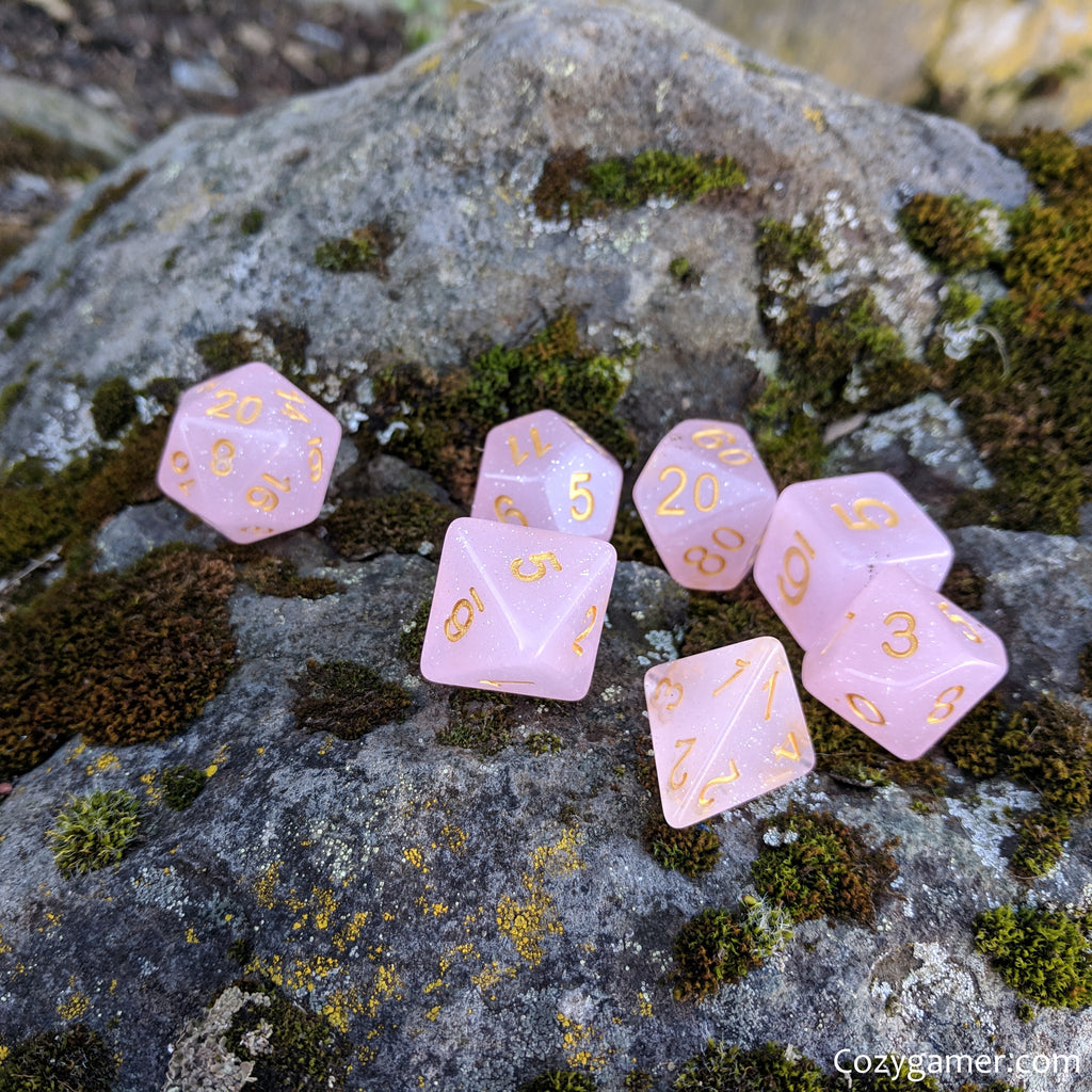 Pink Rose DnD Dice Set, Semi Translucent Glitter Dice - CozyGamer