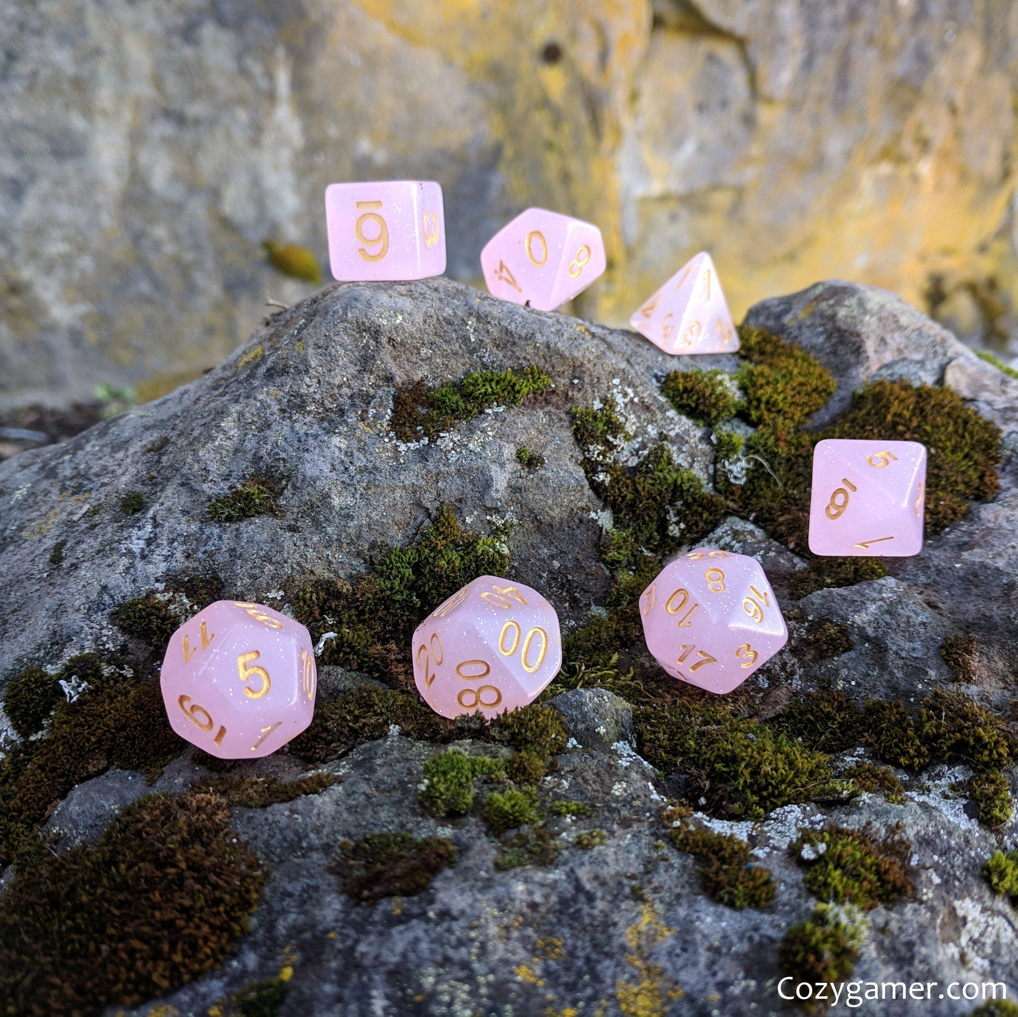 Pink Rose DnD Dice Set, Semi Translucent Glitter Dice