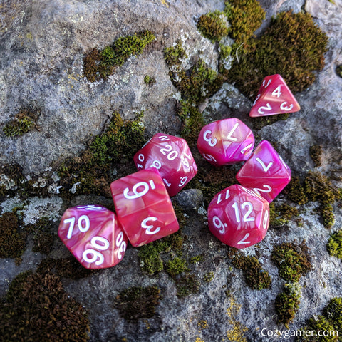 Magenta Rose DnD Dice Set, Pink Pearly Marbled Dice