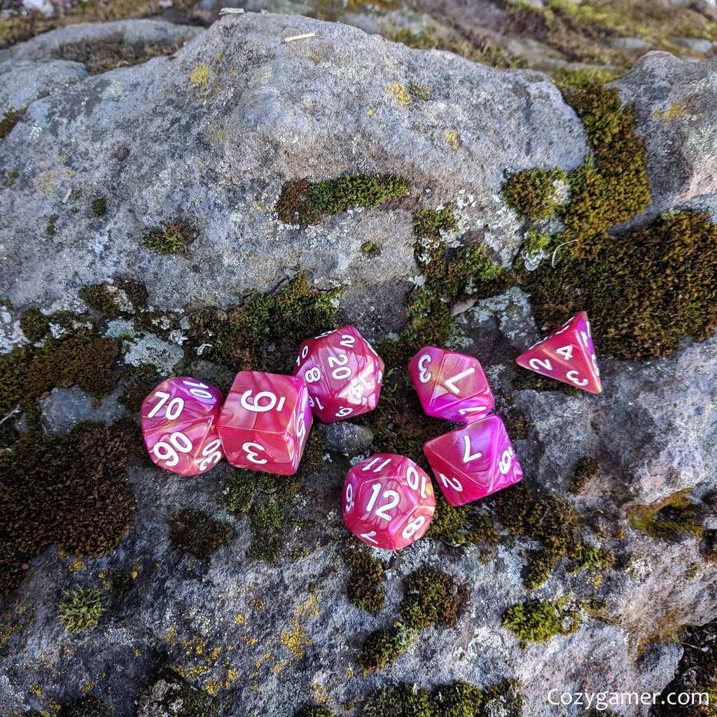 Magenta Rose DnD Dice Set, Pink Pearly Marbled Dice - CozyGamer