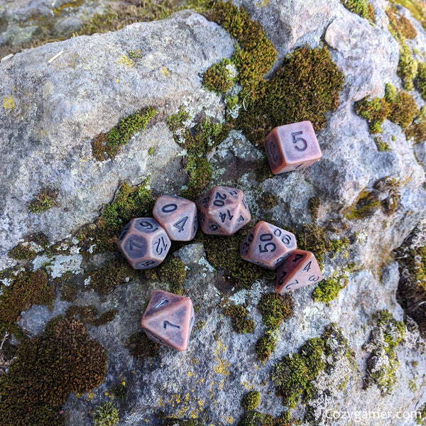 Aged Leather DnD Dice Set, Matte Brown Ancient Dice