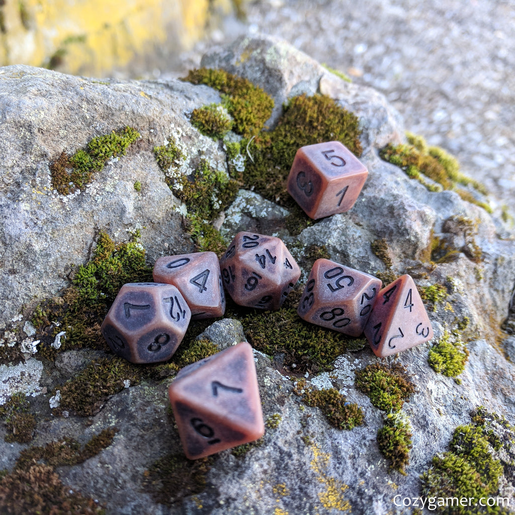 Aged Leather DnD Dice Set, Matte Brown Ancient Dice - CozyGamer