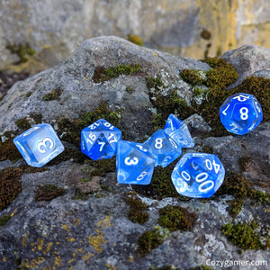Blue Bloods Dice Set, Translucent Blue Ink 7 Piece D&D Dice Set