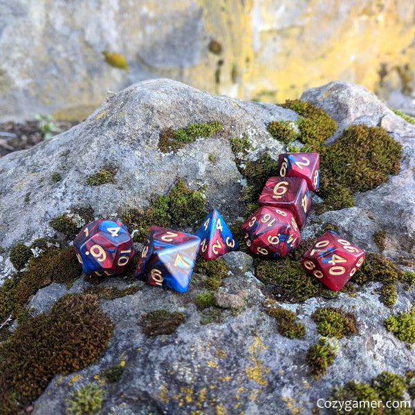 Treatise Dice Set, Pearly Deep Red and Blue Marble Dice