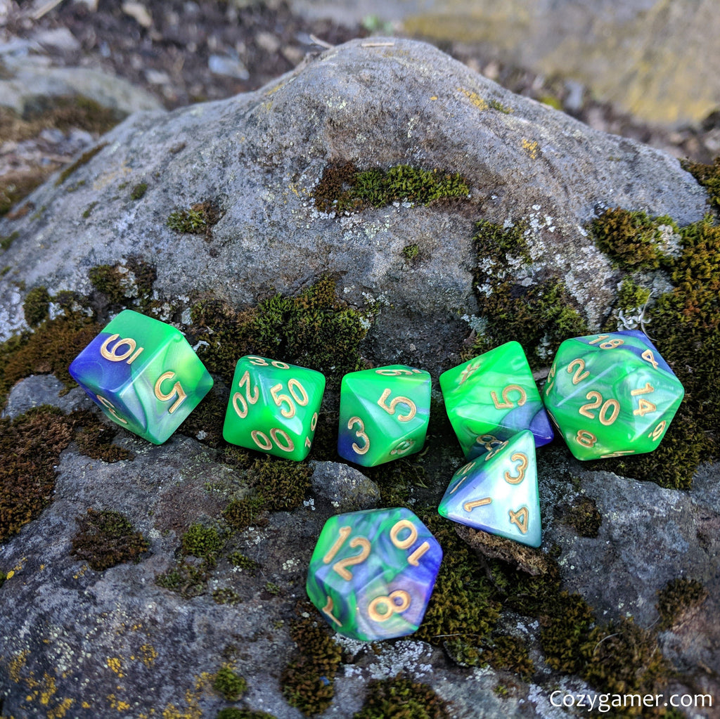 Dragon Dice Set, Pearly Green and Purple Marble Dice - CozyGamer
