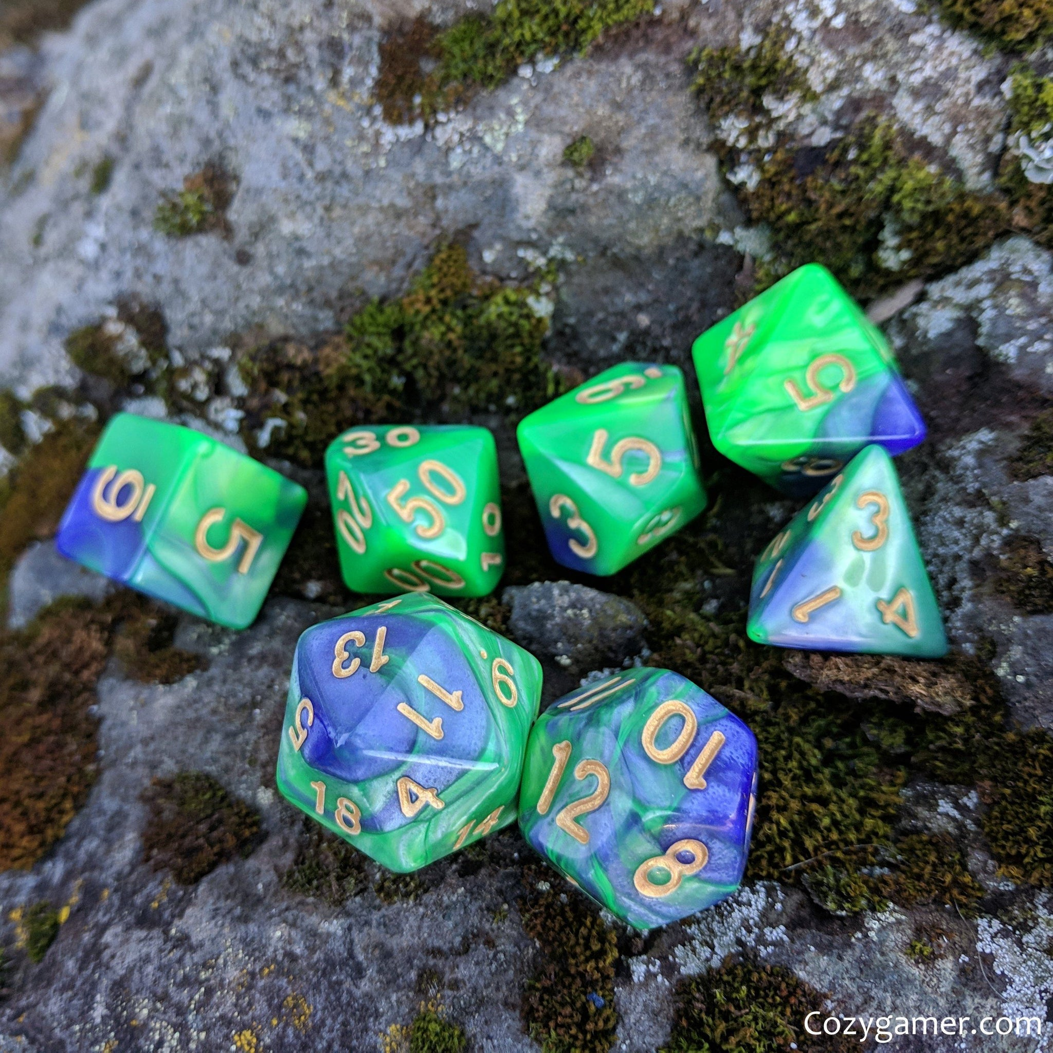 Dragon Dice Set, Pearly Green and Purple Marble Dice
