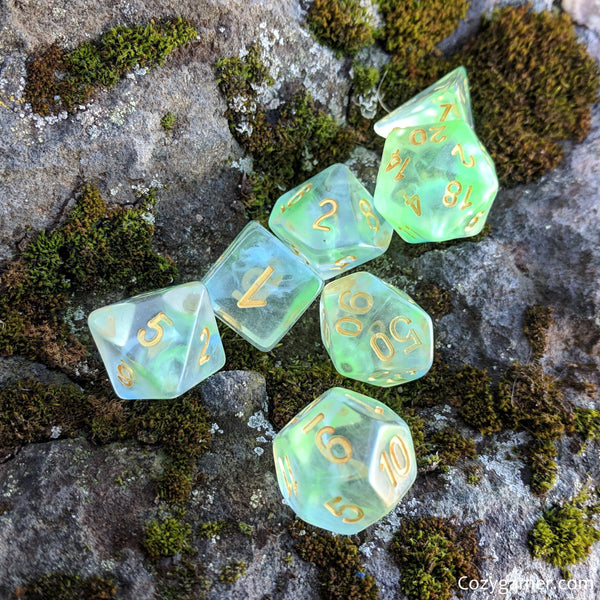 Water Serpent Dice Set, Transluscent Resin Dice with Blue and Green Ink