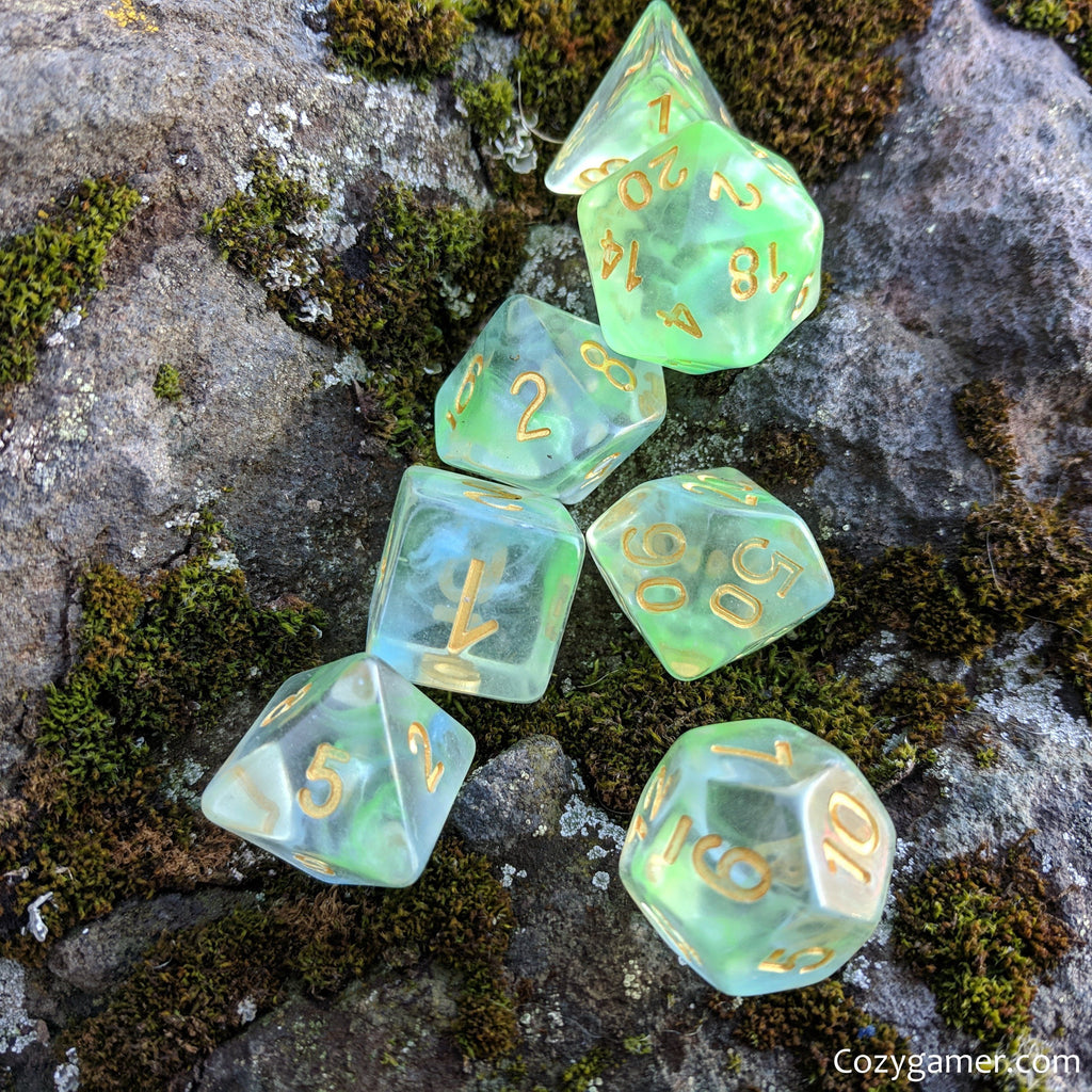 Water Serpent Dice Set, Transluscent Resin Dice with Blue and Green Ink - CozyGamer