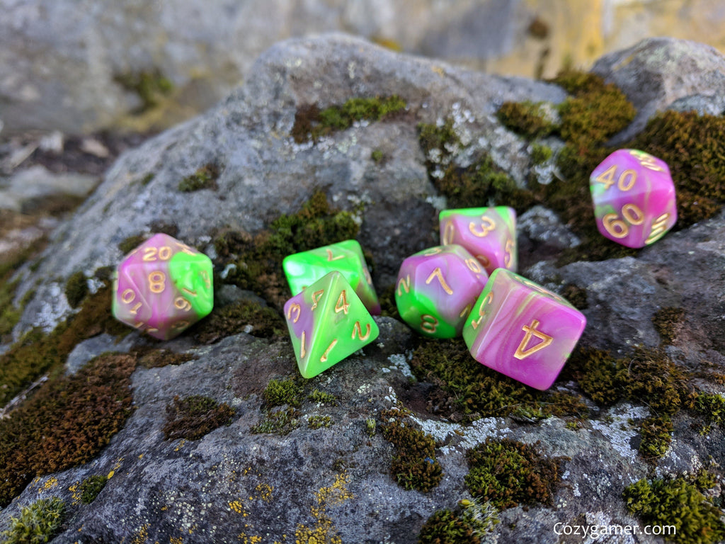Tulip Dice Set, Pearly Green and Pink Marble Dice - CozyGamer