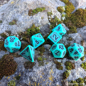 Tarnished Turquoise DnD Dice Set, Matte Blue Ancient Dice