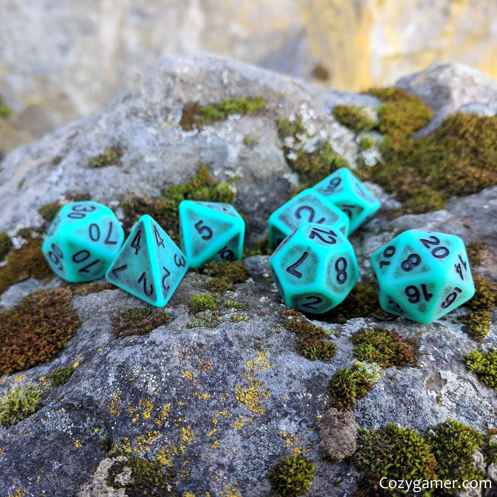 Tarnished Emerald DnD Dice Set, Matte Green Teal Ancient Dice - CozyGamer