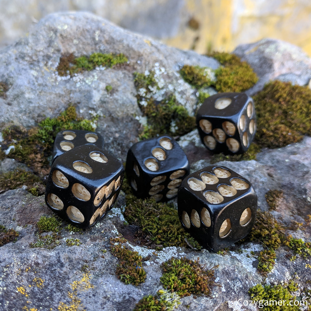 Skulls Dice Set, 6 Sided Black Dice with Small Skulls Embedded - CozyGamer