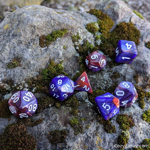 Midnight Rose DnD Dice Set, Purple and Copper Pearly Marbled Dice