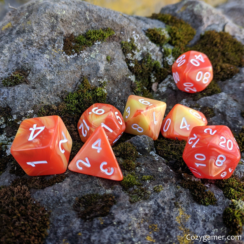 Flaming Orb Dice Set, Orange and Yellow Pearl Marbled Dice - CozyGamer