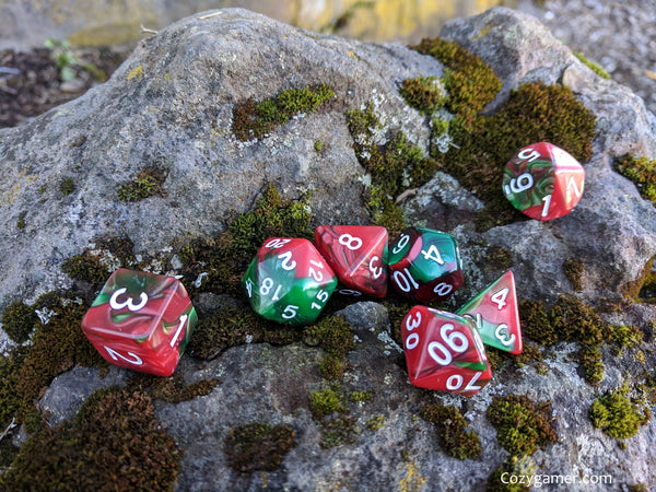 Sleigh Driver DnD Dice Set, Green and Red Pearl Marbled Dice