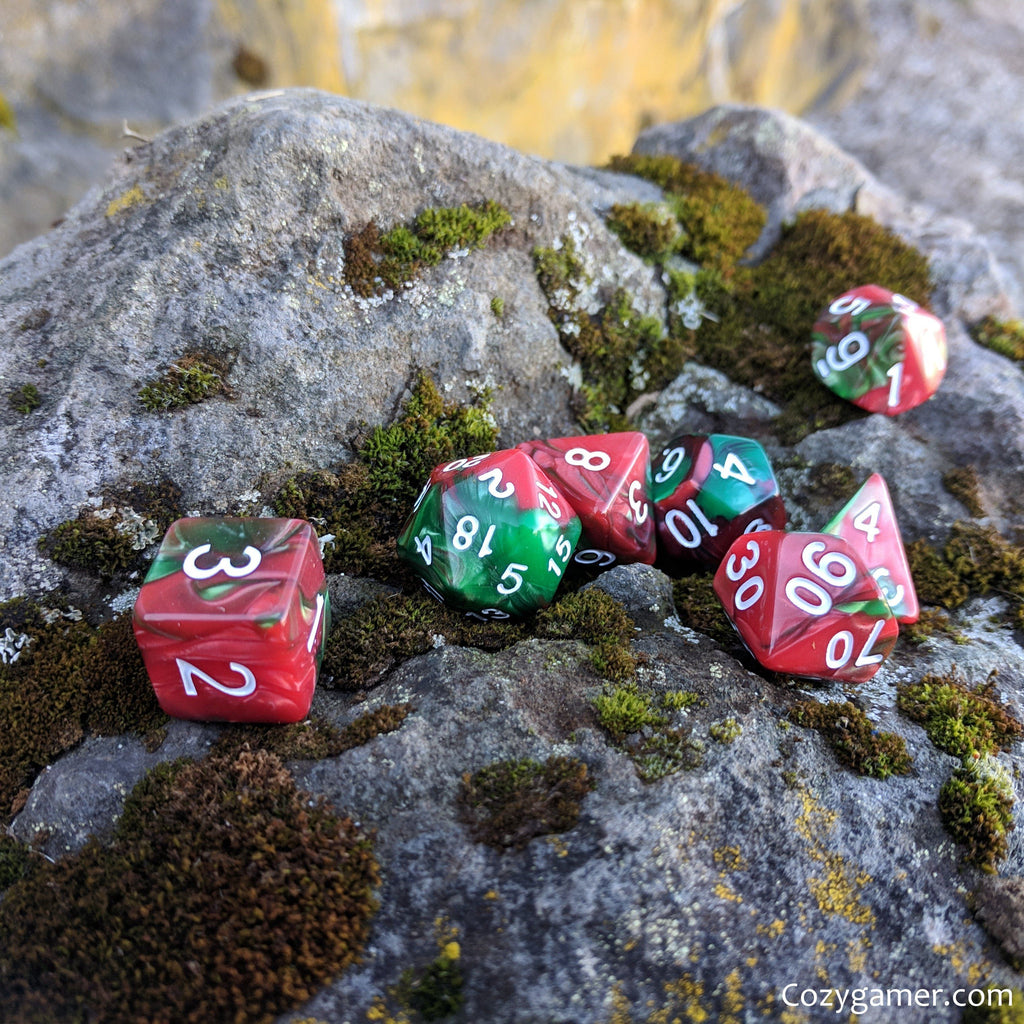 Sleigh Driver DnD Dice Set, Green and Red Pearl Marbled Dice - CozyGamer
