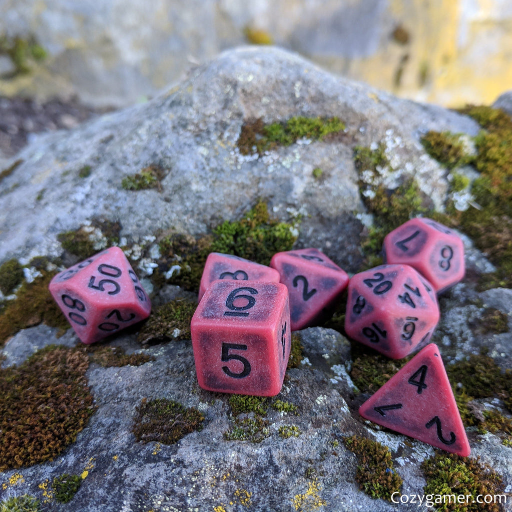 Blood DnD Dice Set, Matte Red Ancient Dice - CozyGamer