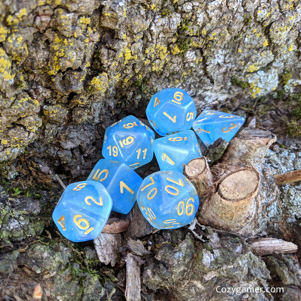 Mystic Dice Set, Blue Semi Translucent Ink Glitter Dice