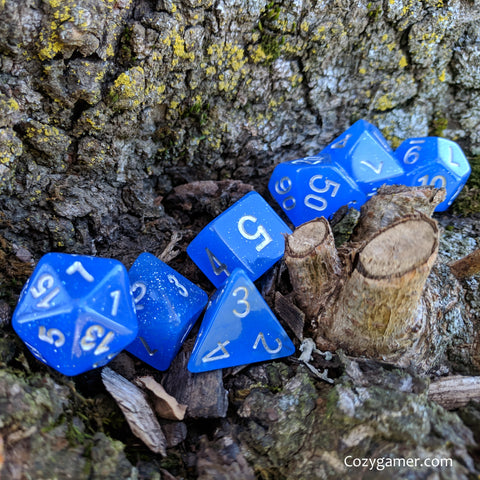 Mana Spritzer Dice Set, Blue Semi Translucent Glitter Dice