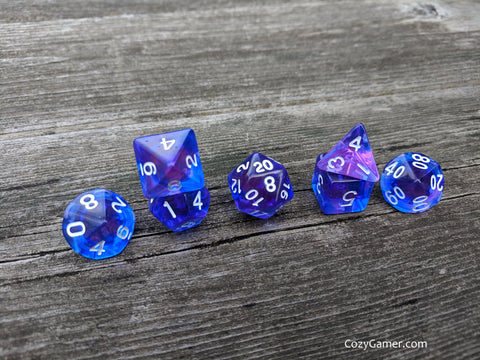 Purple Phoenix Dice Set, Blue and Purple Translucent Dice