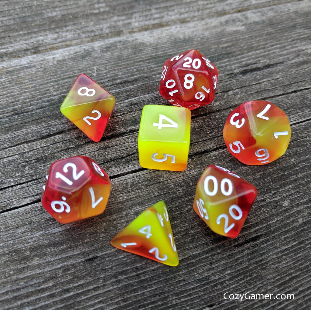 Phoenix Tears Dice Set, Red and Yellow Semi Translucent Fire Dice - CozyGamer