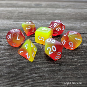 Phoenix Tears Dice Set, Red and Yellow Semi Translucent Fire Dice