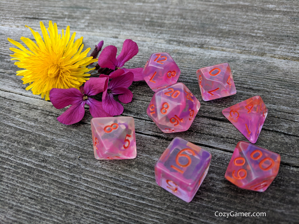 Poisonous Flower Dice Set, Transluscent Resin Dice with Pink and Purple Ink - CozyGamer