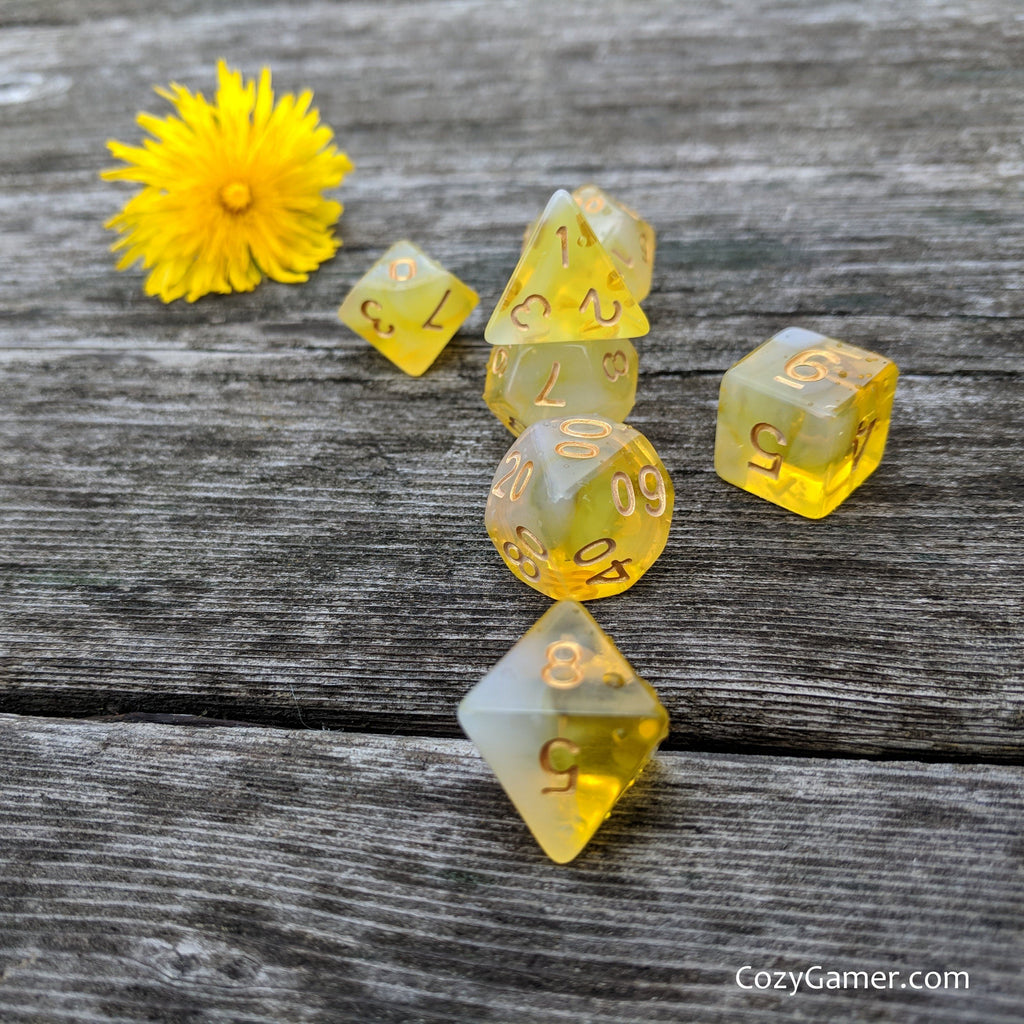 Lemon Drop DnD Dice Set, Bright Yellow Dice - CozyGamer