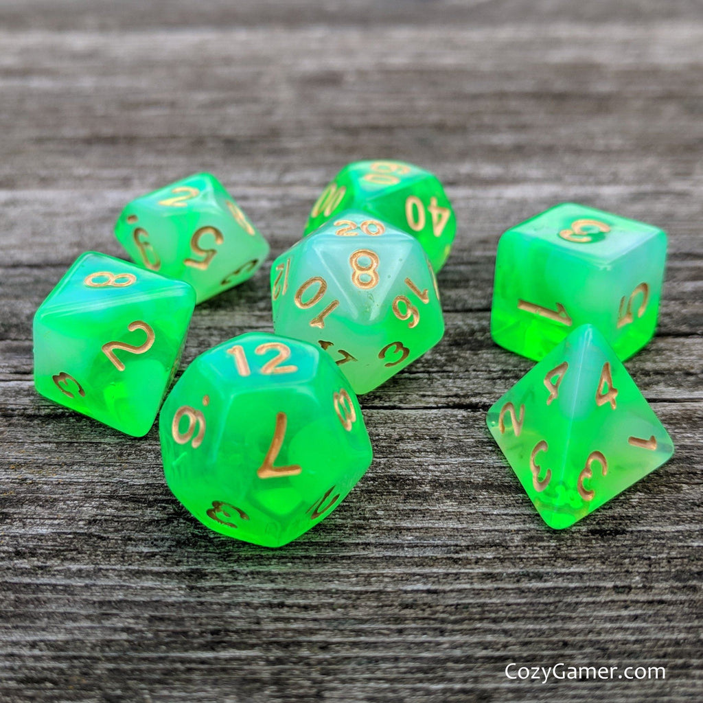 Gaseous Ooze DnD Dice Set, Bright Green Dice - CozyGamer