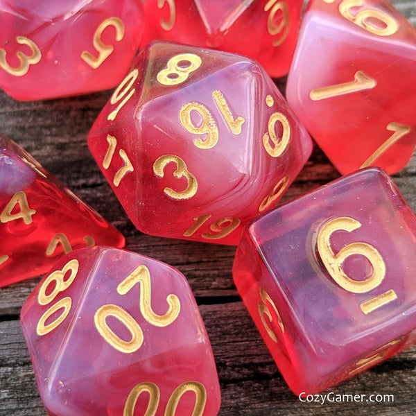 White Blood Cells DnD Dice Set, Bright Red Dice
