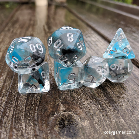 Sea Wraith Dice Set, Transluscent Resin Dice with Black and Teal Ink